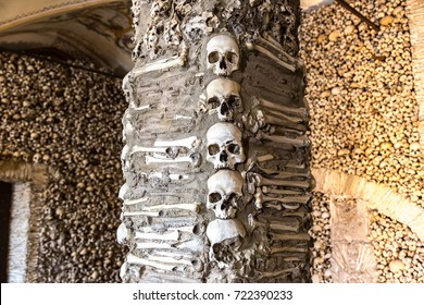 Capela dos Ossos (Chapel of Bones) in Evora, Portugal in a beautiful summer day