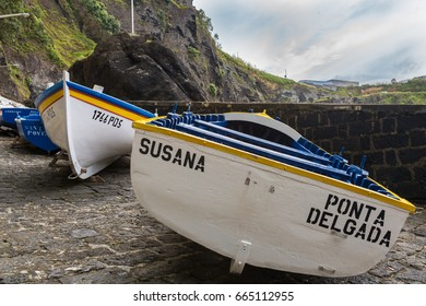 Capelas, Azores Portugal - May 15, 2017: Porto Capelas fishing port on Sao Miguel island, the Azores archipelago in the Atlantic Ocean belonging to Portugal