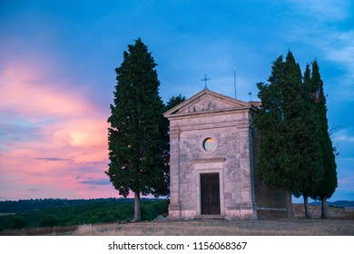Capella Vitaleta, val D'Orcia, Tuscuny, Italy, 16 of July 2017. Tuscany holidays. Italy holidays tuscany. Summer landscape in Tuscany, Italy, Europe. Vacation in beautiful Italy.