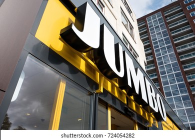 CAPELLE AAN DEN IJSSEL, NETHERLANDS - September 22, 2017: Jumbo sign at branch. Jumbo is the second-largest supermarket chain in the Netherlands.
