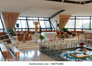 Capernaum (Cafarnaum), Israel - January 01, 2017 : Interior of the church was built over the ruins of Peter's house in Capernaum. Israel