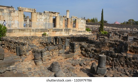 CAPERNAUM ISRAEL 06 11 2016: The ruins of this building, among the oldest synagogues in the world, were identified by Charles William Wilson.