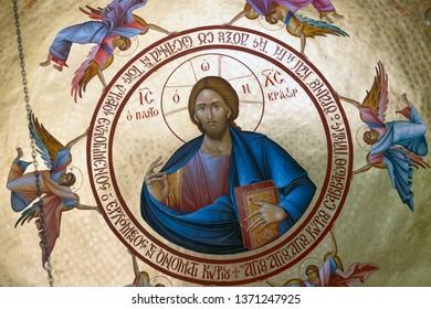 Capernaum, Israel. April 10, 2019. Icon of Jesus Christ on ceiling of Monastery of 12 Apostles in Capernaum.