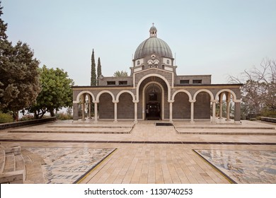 Capernaum, Israel - December 21 2017: Church of the Beatitudes, a Roman Catholic church located by the Sea of Galilee near Tabgha and Capernaum in Israel.