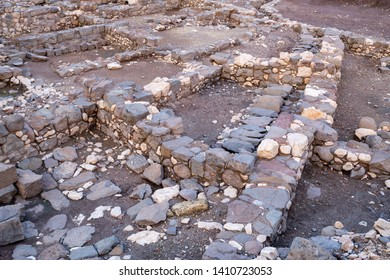 Capernaum, Israel - January 17 2018: Detailed ruins of homes at the ancient site of Capernaum.