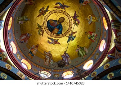 Capernaum, Israel - January 17 2018: The dome of the Monastery of the Twelve Apostles