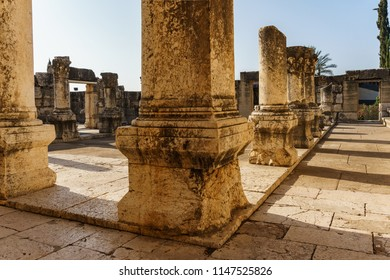CAPERNAUM, ISRAEL, March 31 2018: remains of synagogue in the Capharnaum the town of Jesus.