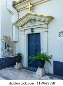 CAPERNAUM, ISRAEL, March 31 2018: Blue door to The Greek Orthodox Church Of The Twelve Apostles In Capernaum, Israel.