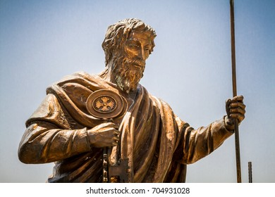 CAPERNAUM, ISRAEL - MAY 15: Sculpture of St. Peter the Apostle of bronze, close-up, in Archaeological site Capernaum, Israel on May 15, 2017