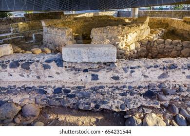 CAPERNAUM, ISRAEL - NOVEMBER 21, 2016 Saint Peter's House, Ruins Byzantine Church over Peter's 1st Century House, Sea of Galilee Capernaum Israel