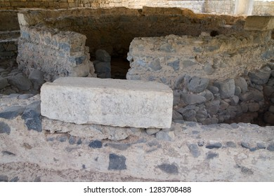CAPERNAUM, ISRAEL - NOVEMBER 21, 2018 Saint Peter's House, Ruins Byzantine Church over Peter's 1st Century House, Sea of Galilee Capernaum Israel