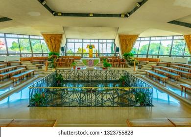 CAPERNAUM, ISRAEL, SEPTEMBER 15, 2018: Interior of a modern church inside of the Capernaum complex in Israel