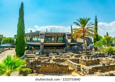 CAPERNAUM, ISRAEL, SEPTEMBER 15, 2018: View of a modern church inside of the Capernaum complex in Israel