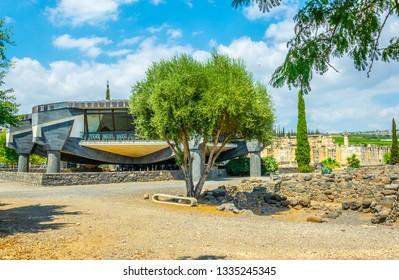 CAPERNAUM, ISRAEL, SEPTEMBER 15, 2018:modern church inside of the Capernaum complex in Israel