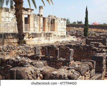 CAPERNAUM/ISRAEL - APRIL 11, 2011: Remains of the synagogue and other buildings in the ancient Roman city of Capernaum on the Sea of Galilee.