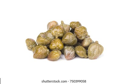 Capers isolated on white background. Pickled capers. Canned capers
