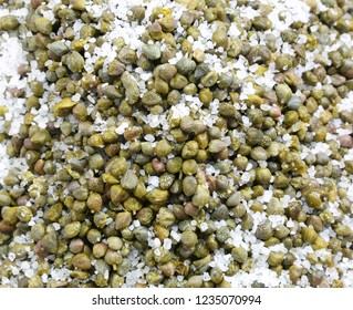 capers under salt typical food of Southern Italy