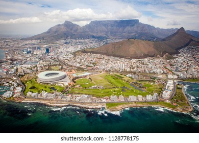 Capetown / South Africa - 10/03/2015: Helicopter View on Capetown district