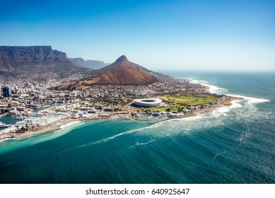 Capetown, South Africa - January 28, 2016: Aerial view of coastline in Capetown, South Africa. Table mountain in Capetown, South Africa