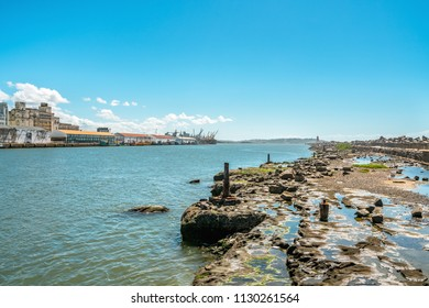 Capibaribe River in a blue sky day at Ancient Recife, Pernambuco, Brazil