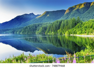 Capilano Reservoir Lake Dam Green Mountains Vancouver British Columbia Canada Pacific Northwest