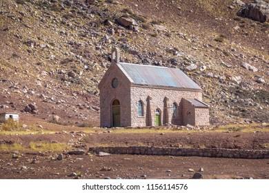 Capilla de las Nieves Chapel at Puente del Inca or Inca Bridge near Cordillera de Los Andes - Mendoza Province, Argentina