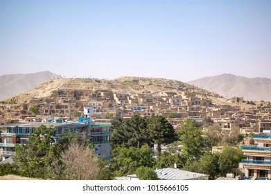The capital of Afghanistan Kabul seen from the hillsides