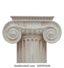 Capital of the ancient Greek Ionic order isolated over white background