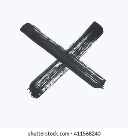 Capital black letter X on a white background.