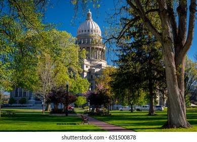 Capital building in Boise Idaho in the spring time