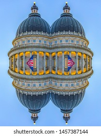 Capital building dome with colums and flags