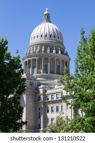 The capital building flanked by trees on either side