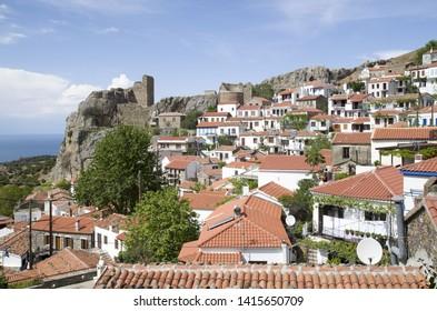 Capital Chora at Samothraki island in Greece in sunny day