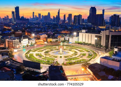 Capital city of Thailand, Bangkok at twilight. Taken from high building, colorful sky in background