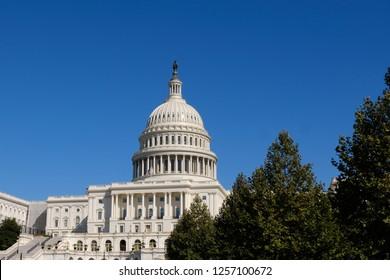Capital Hill Building closeup with blue sky in Washington D.C.,USA