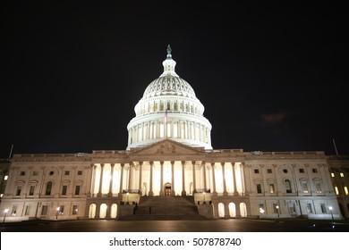 capital hill at night