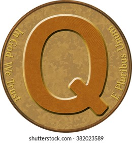 Capital Letter Q, illustration of a letter with on a gold doubloon