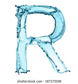 Capital letter R of water alphabet isolated on white background