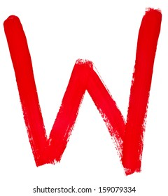 capital letter w hand painted by red brush on white background