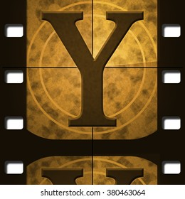 Capital Letter Y, illustration of a letter in a movie filmstrip