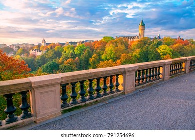 capital of Luxembourg in autumn ,city view from the bridge