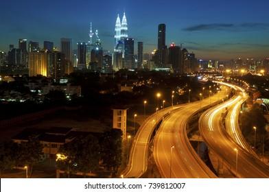 The capital of Malaysia, Kuala Lumpur city skyline in twilight view.