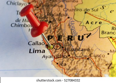 Capital of Peru, Lima pinned map. Copy space available.