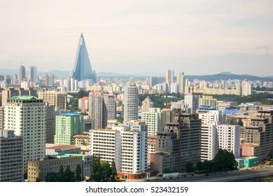 Capital Pyongyang city's Skyline in North Korea (DPRK)