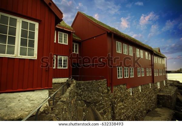 The capital of Torshavn in the Faroe Islands in the north Atlantic