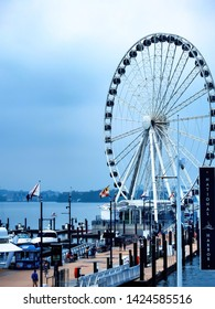 Capital Wheel At The National Harbor On The Potomac River In Maryland May 4, 2019 A Popular Tourist Destination Near Washington DC