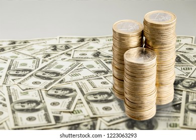Capitalism concept : Coin stack on bank note and vintage map background.
