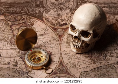 Capitalism Concept : Skull and Compass   with Vintage Map Background