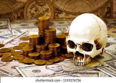 Capitalism concept : Skull on bank note, coin stack and vintage map background.