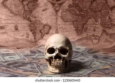 Capitalism Concept : Skull on Banknote with Vintage Map Background